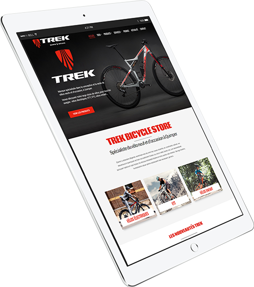 Mockup iPad site internet Trek Bicycle Store Quimper